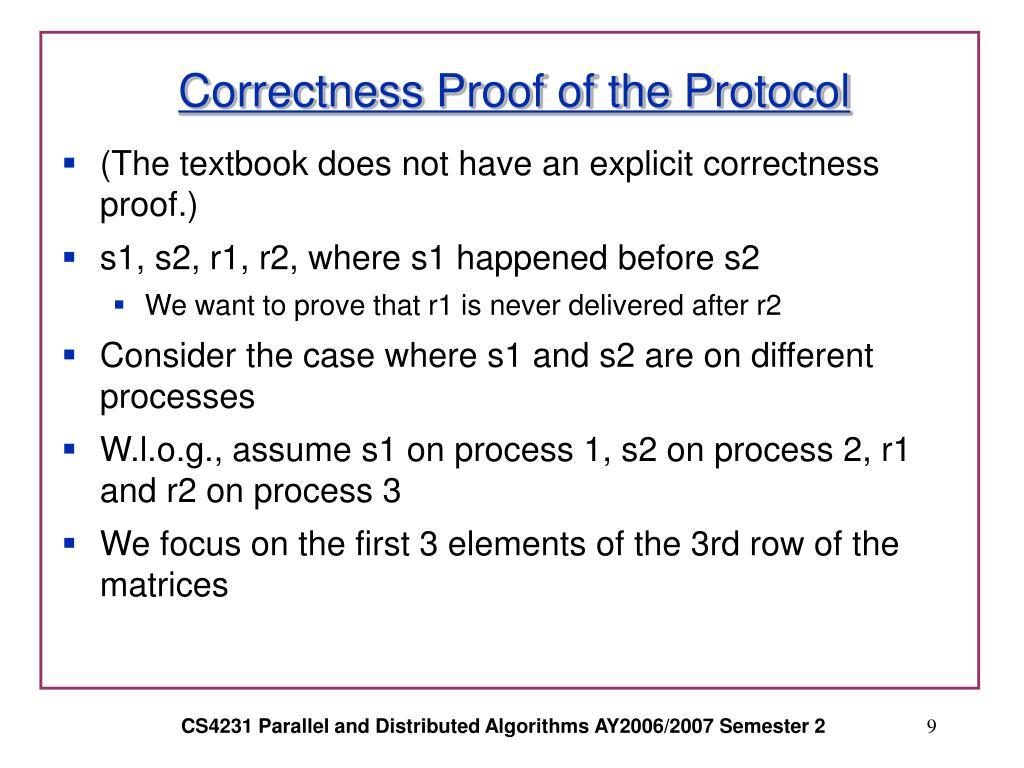 Correctness Proof of the Protocol
