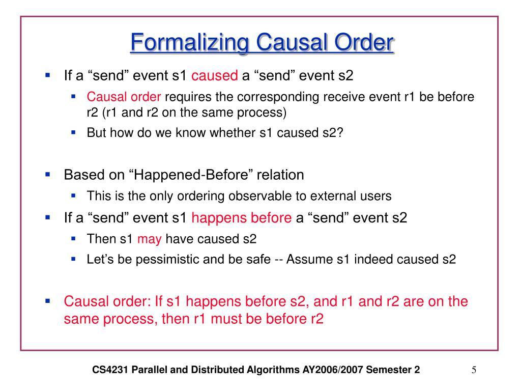 Formalizing Causal Order