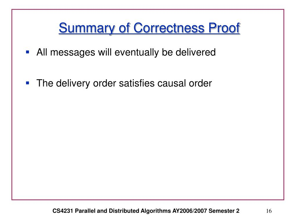 Summary of Correctness Proof