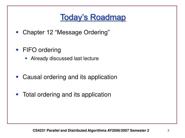 Today s roadmap