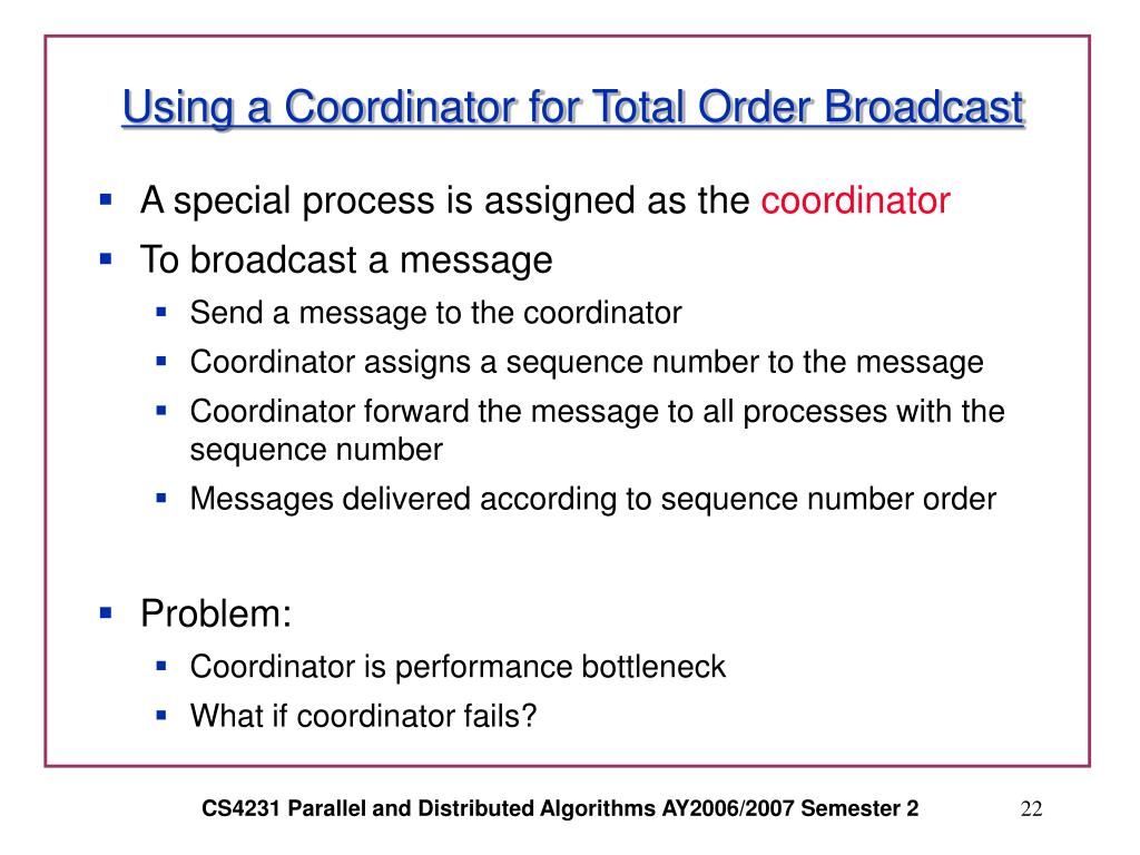 Using a Coordinator for Total Order Broadcast