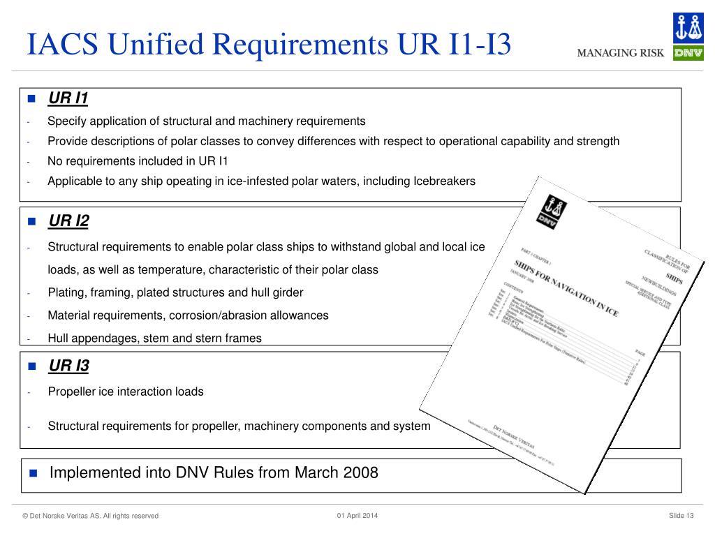 IACS Unified Requirements UR I1-I3