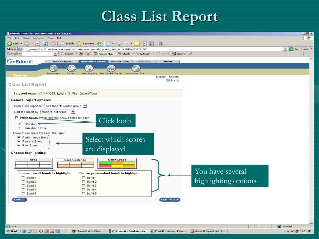 Class List Report