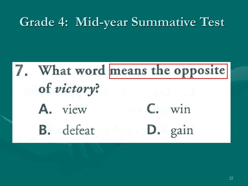 Grade 4:  Mid-year Summative Test