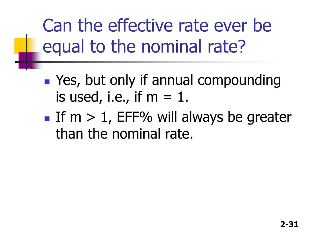 Can the effective rate ever be equal to the nominal rate?