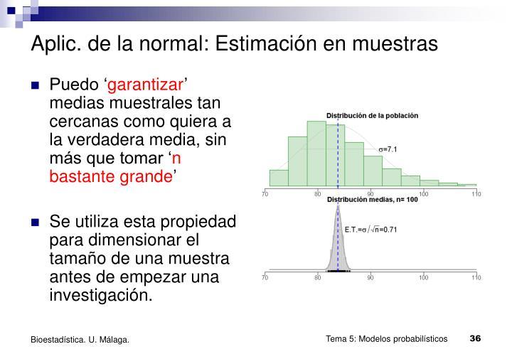 Aplic. de la normal: Estimación en muestras