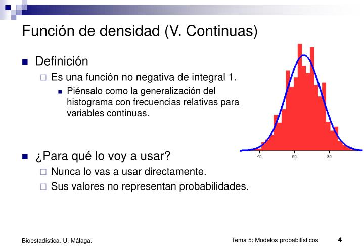 Función de densidad (V. Continuas)