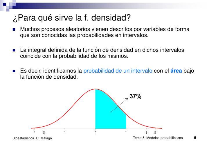 ¿Para qué sirve la f. densidad?