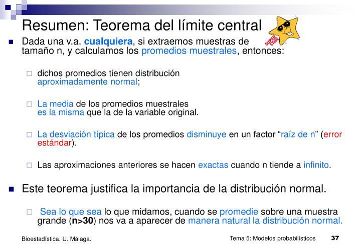 Resumen: Teorema del límite central