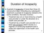 duration of incapacity