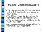 medical certification cont d