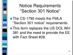notice requirements section 301 notice