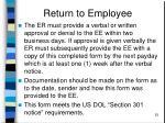 return to employee