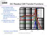 dc readout gw transfer functions