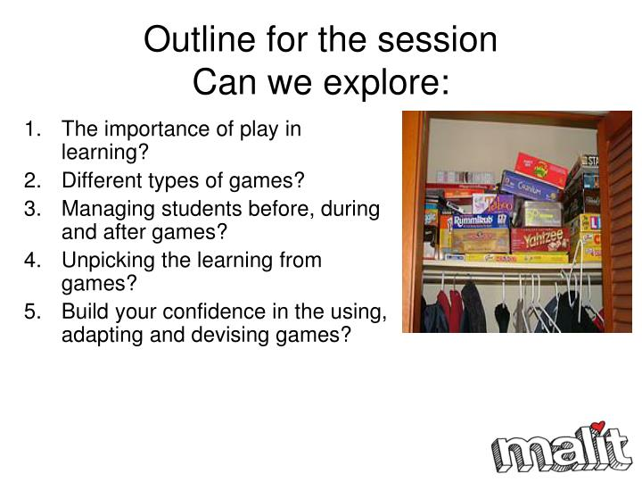 Outline for the session can we explore