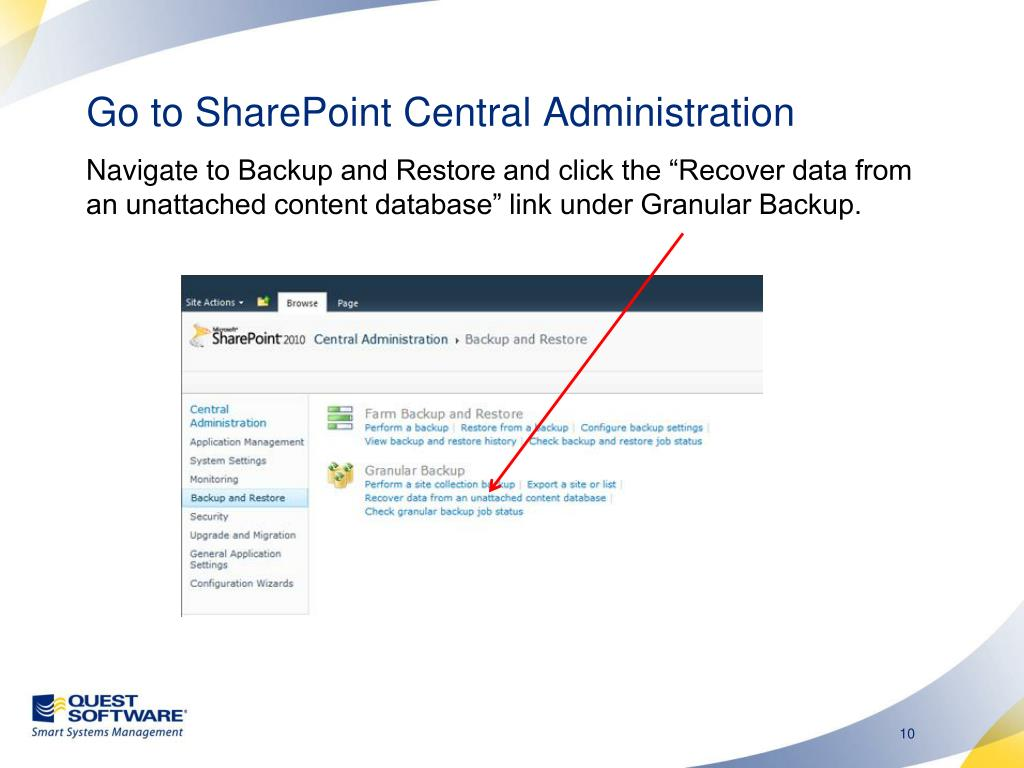 Go to SharePoint Central Administration