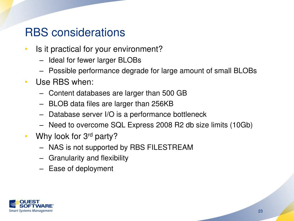 RBS considerations