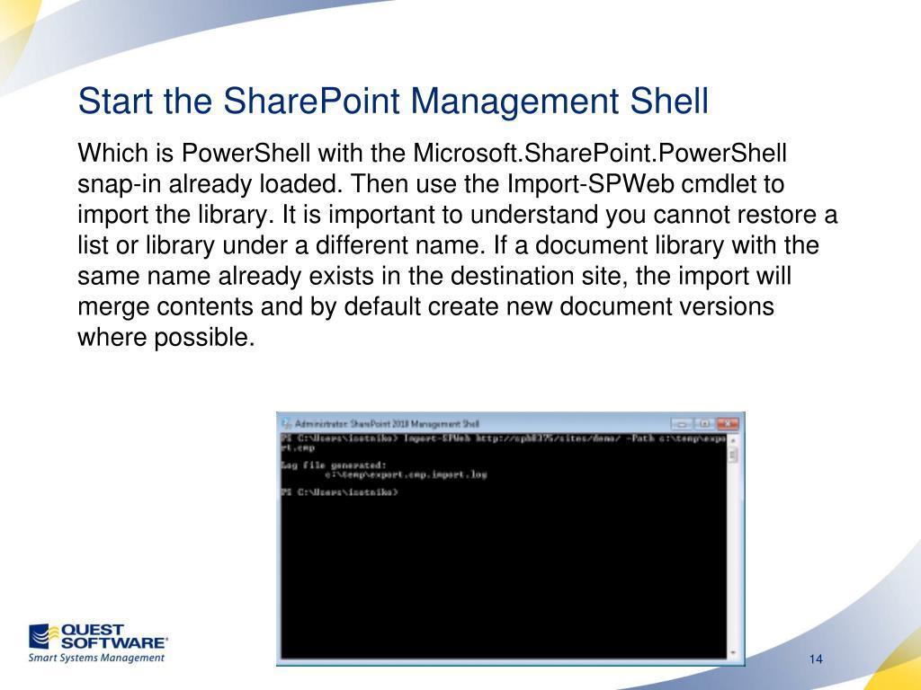 Start the SharePoint Management Shell