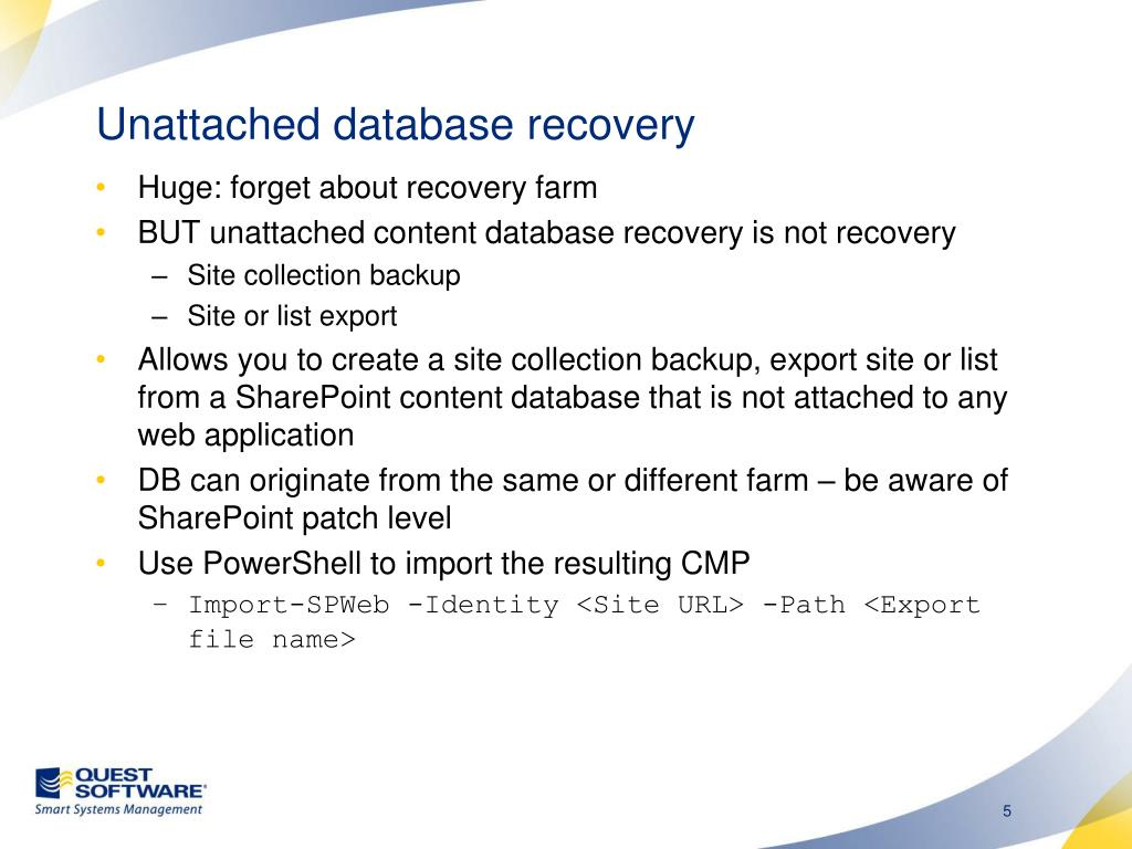 Unattached database recovery
