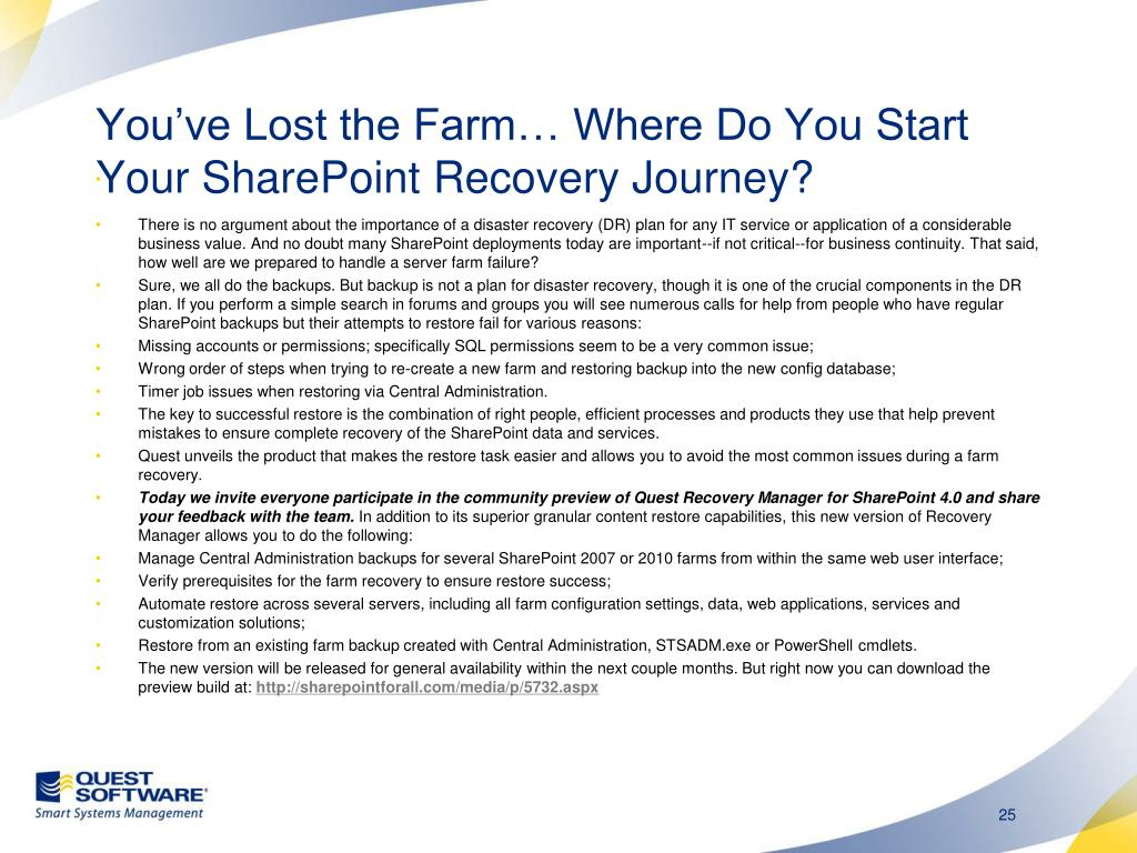 You've Lost the Farm… Where Do You Start Your SharePoint Recovery Journey?