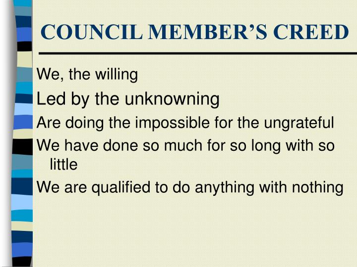Council member s creed