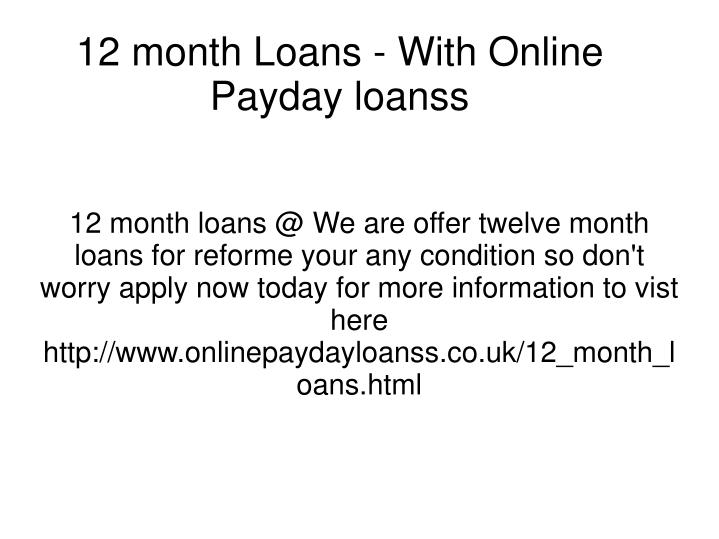 12 month loans with online payday loanss