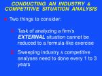 conducting an industry competitive situation analysis