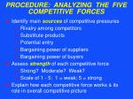 procedure analyzing the five competitive forces