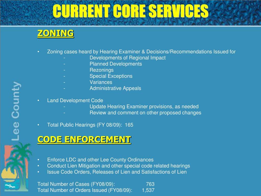 CURRENT CORE SERVICES
