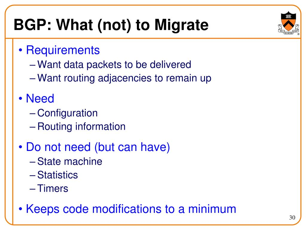 BGP: What (not) to Migrate