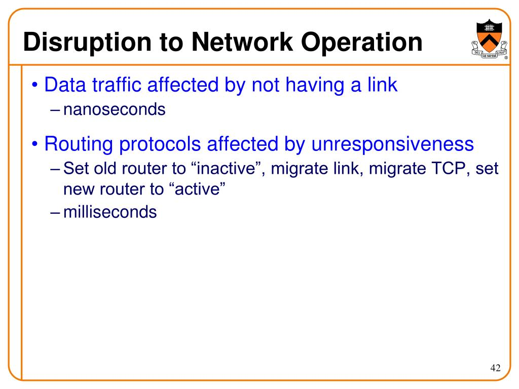 Disruption to Network Operation