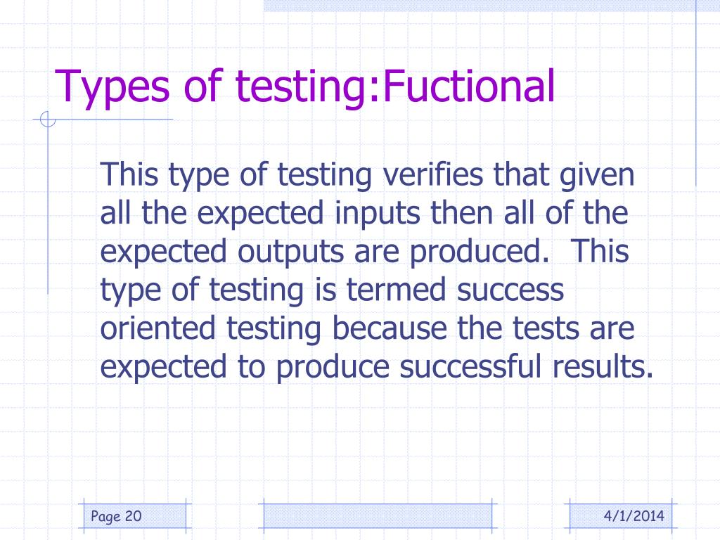 Types of testing:Fuctional
