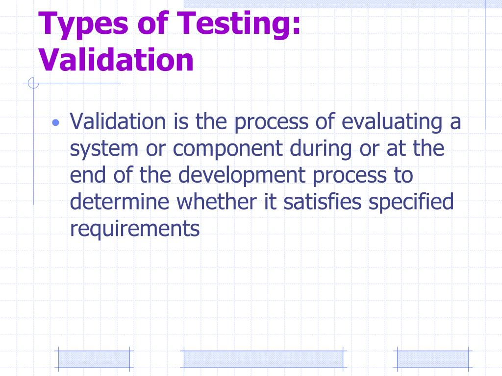 Types of Testing: Validation