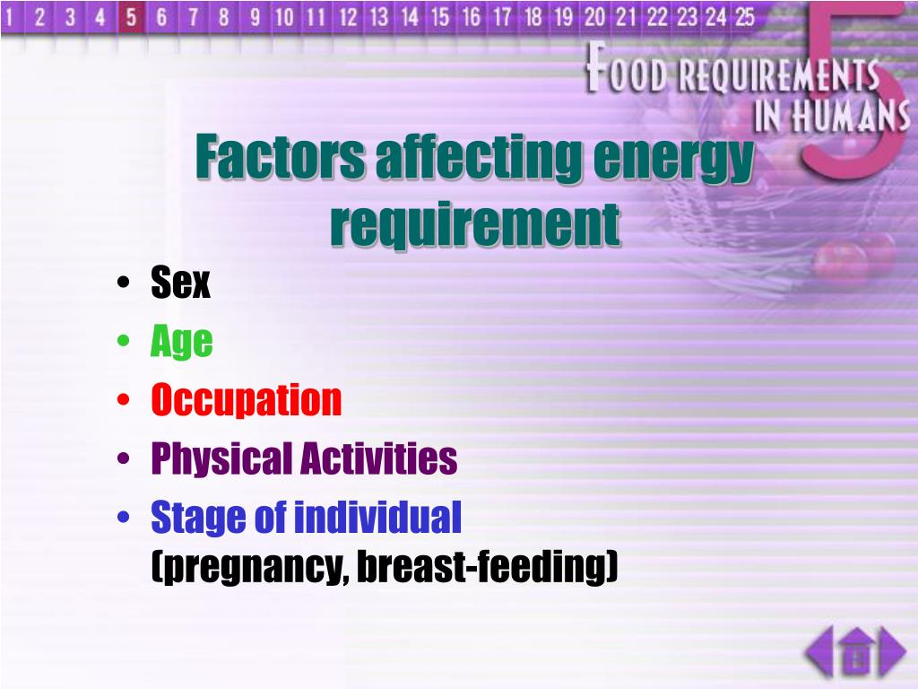 Factors affecting energy requirement
