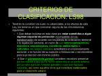 criterios de clasificacion ls98