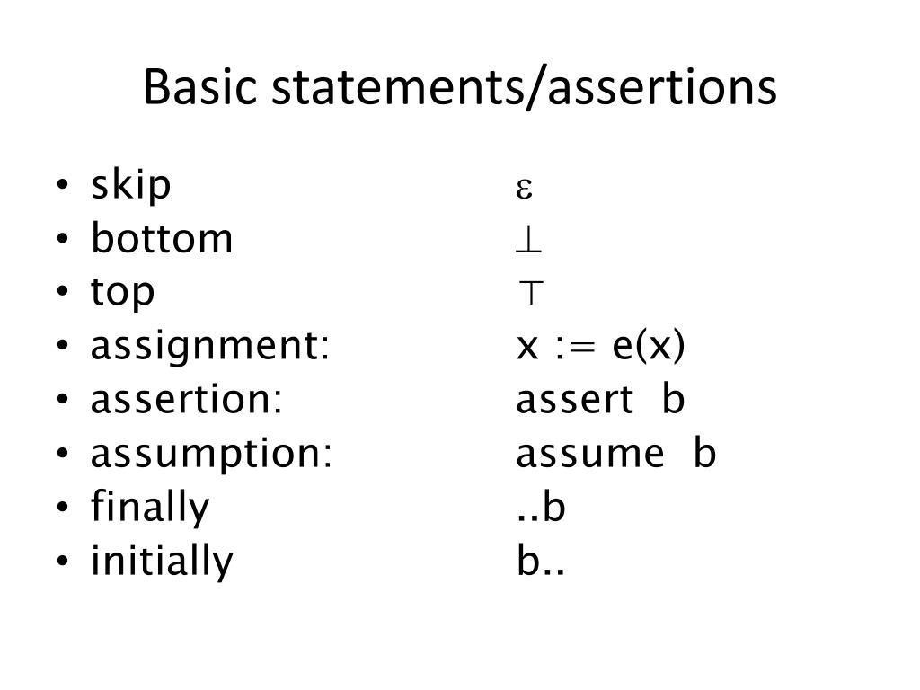 Basic statements/assertions