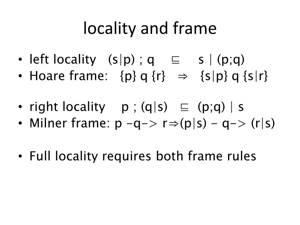 locality and frame