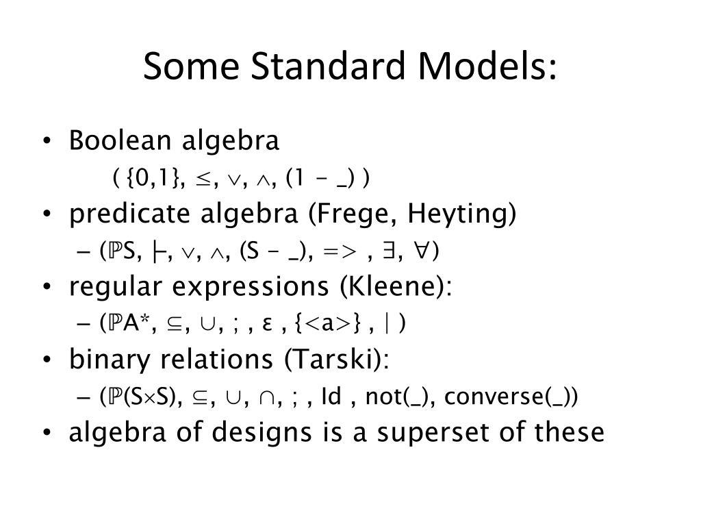 Some Standard Models