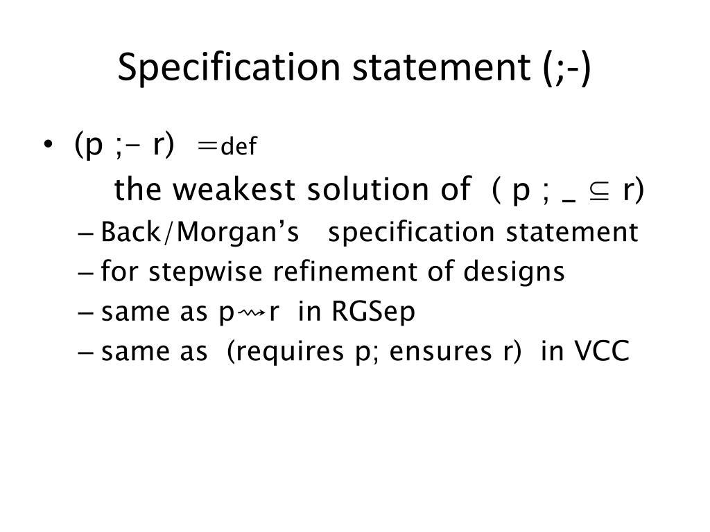 Specification statement (;-)
