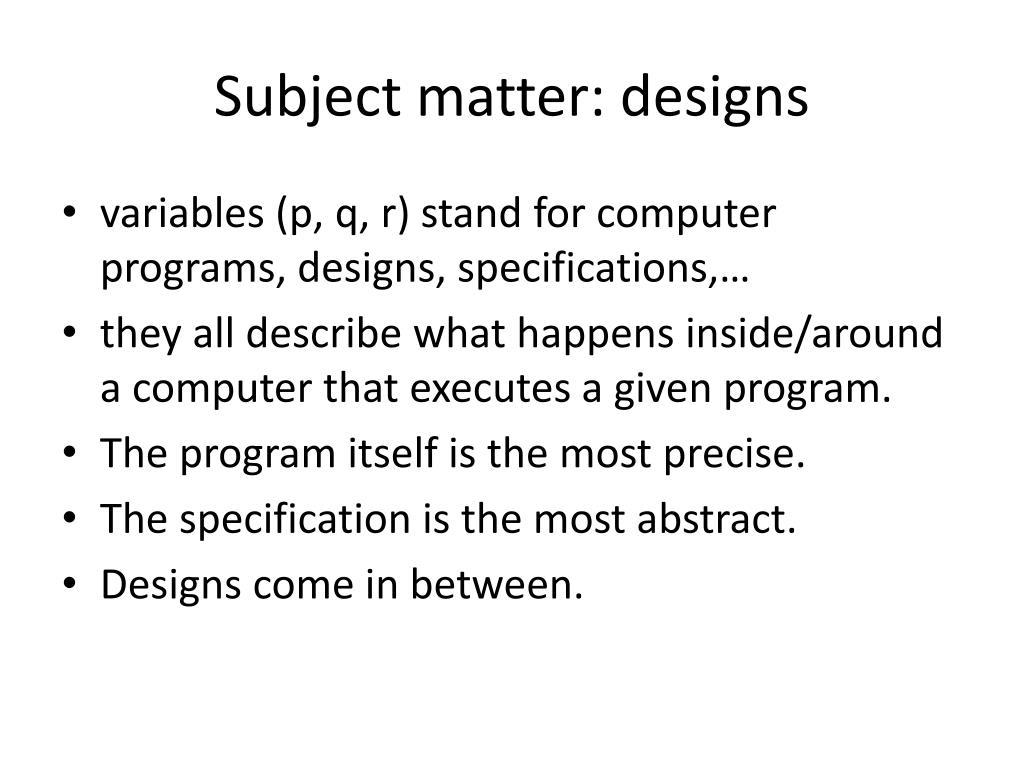 Subject matter: designs