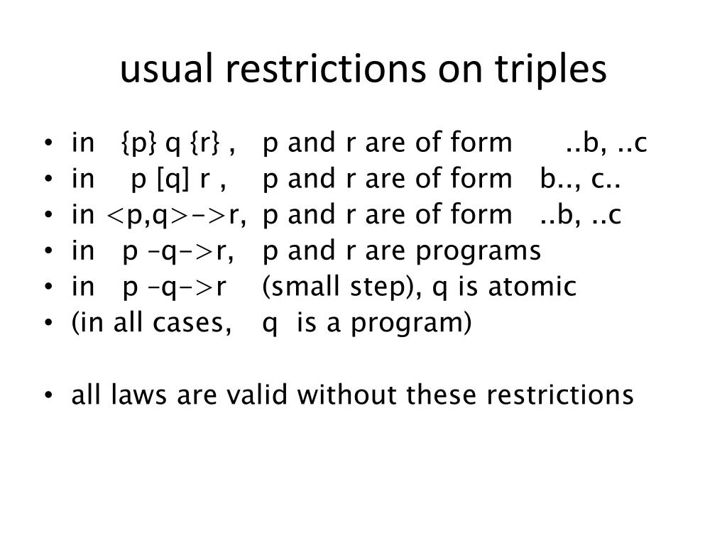 usual restrictions on triples