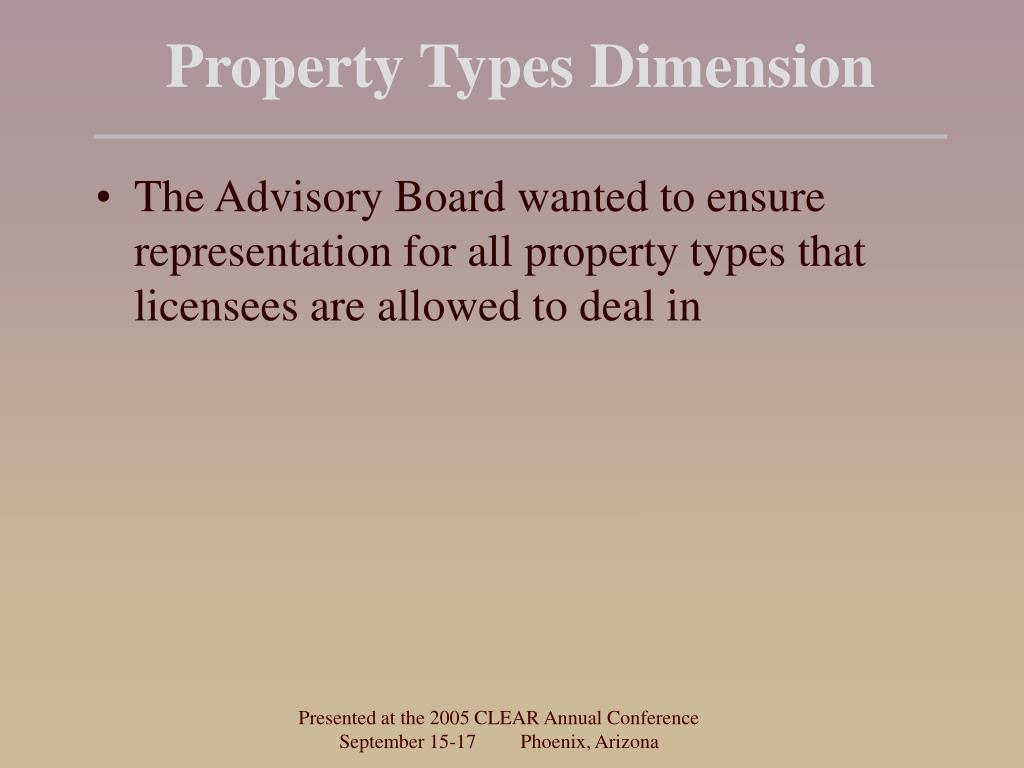 Property Types Dimension