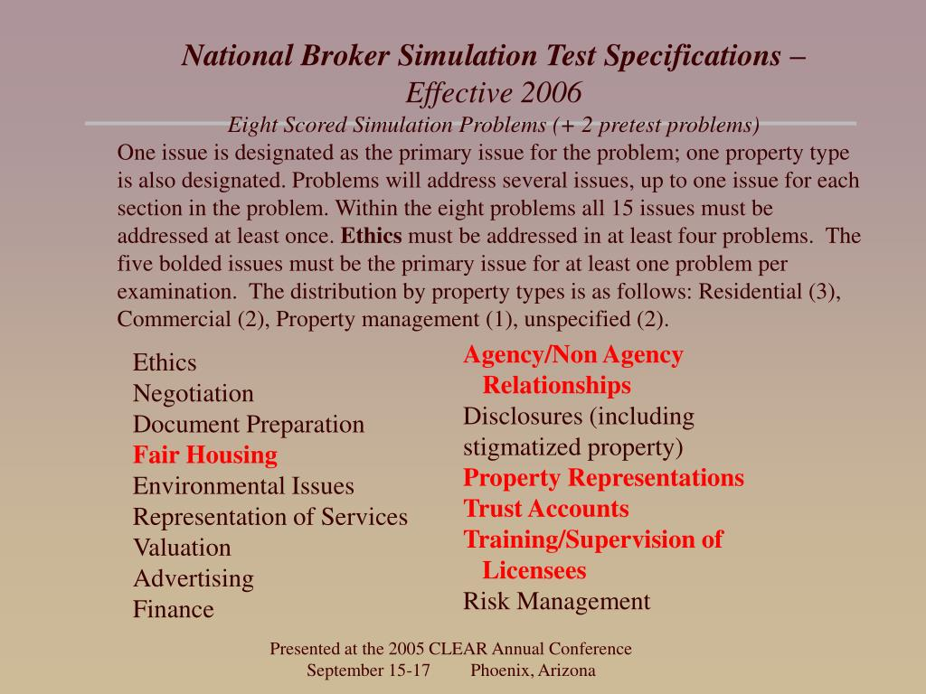 National Broker Simulation Test Specifications –