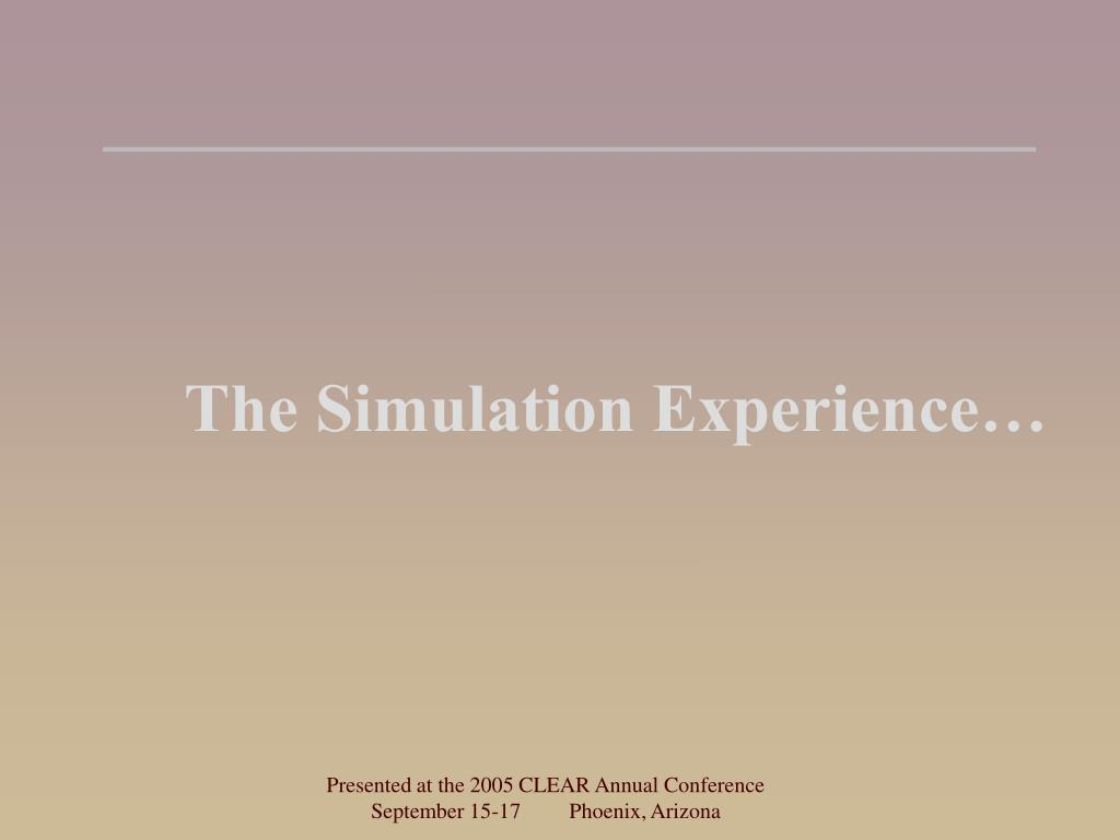 The Simulation Experience…