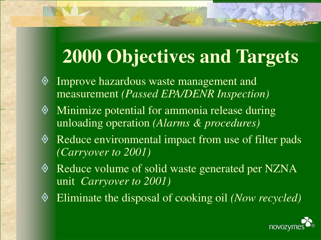2000 Objectives and Targets