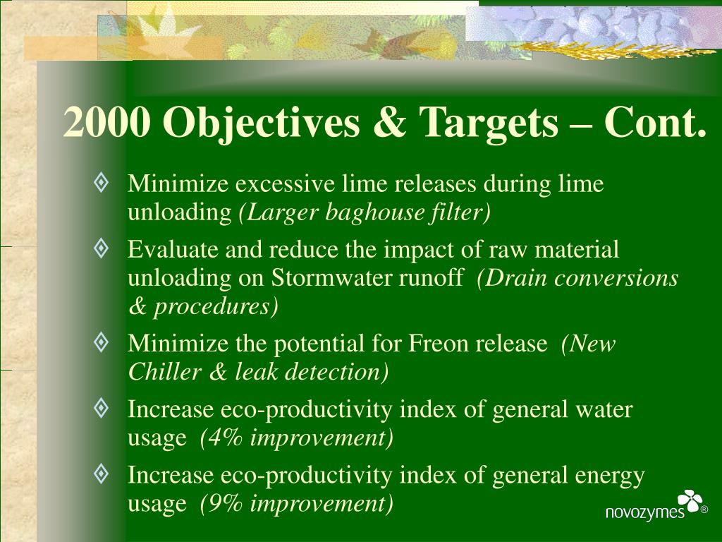 2000 Objectives & Targets – Cont.