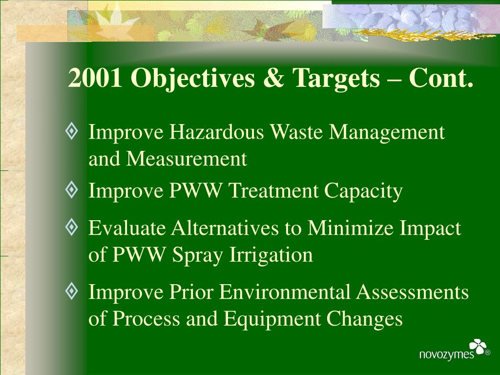 2001 Objectives & Targets – Cont.