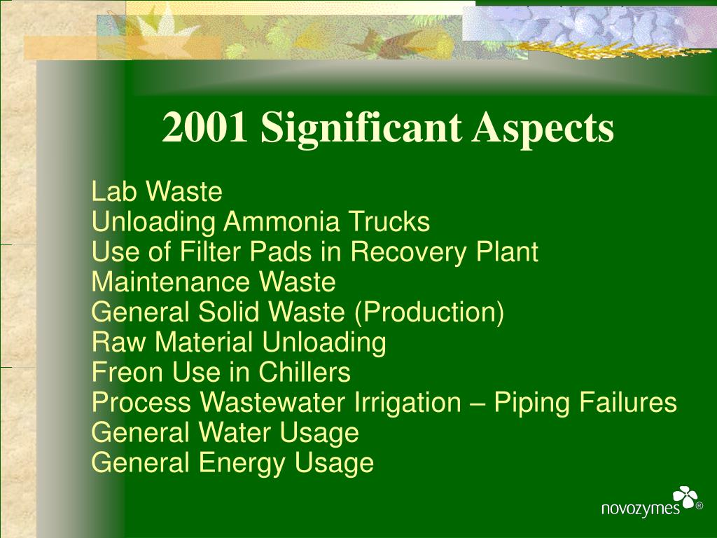 2001 Significant Aspects