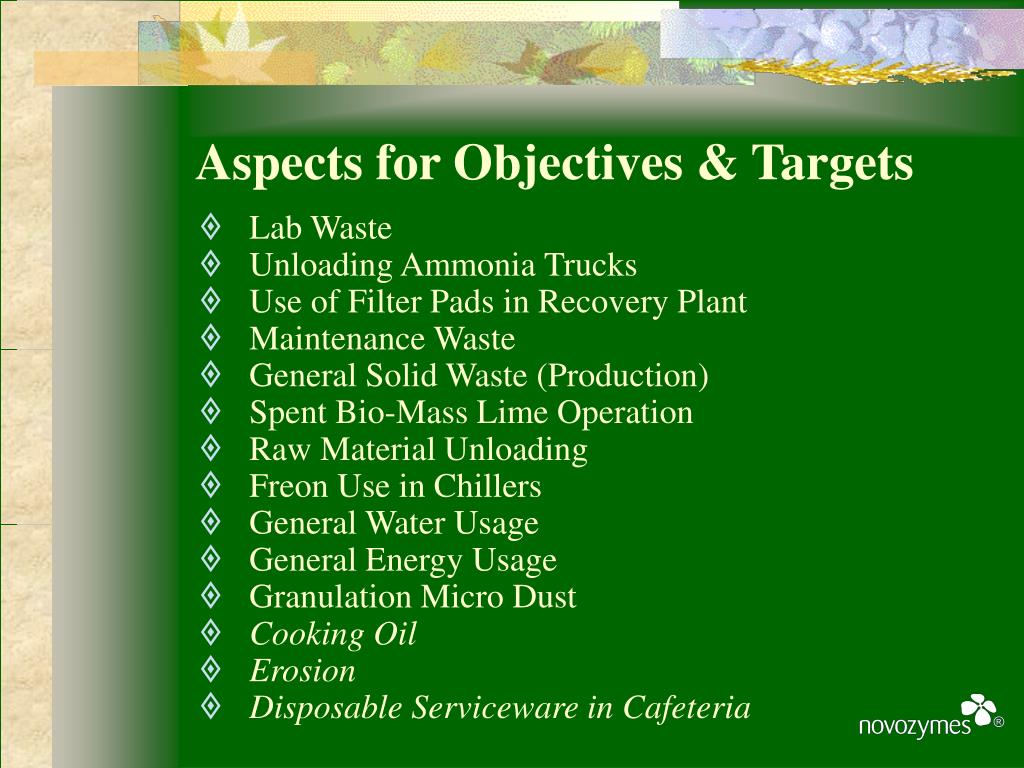 Aspects for Objectives & Targets