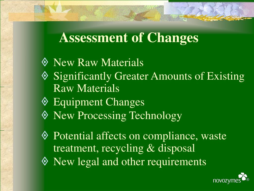 Assessment of Changes